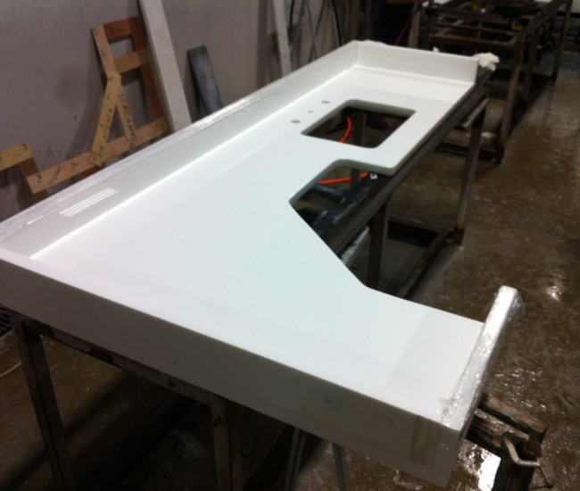 Glassos Crystal White Counter top and backsplashes